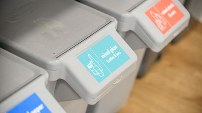 Recycling bins in student accommodation at UWE Bristol