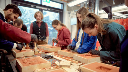 Students in an art and design classroom