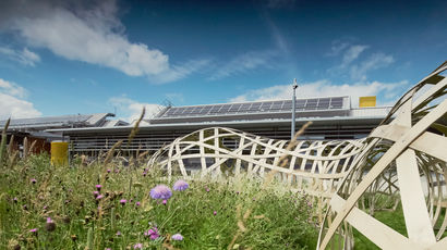 R block with solar panels and wild flowers