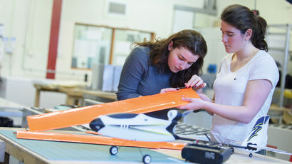 Two students working on aerospace engineering project
