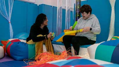 health professional working in sensory rooms