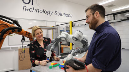 Researchers working in robotics