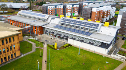 A drone-produced aerial shot of Frenchay Campus.