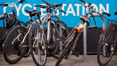 Row of bikes at a bike shed on Frenchay Campus.