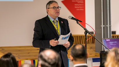 Vice-Chancellor, Steve West speaking at an event.
