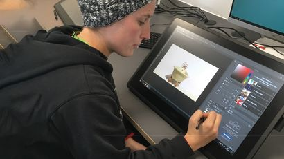 Animation student working on a tablet