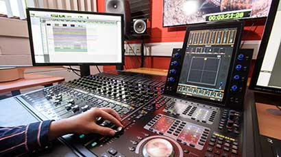 Audio technology equipment in a studio