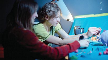 Students in animation studio