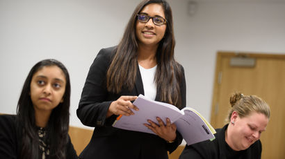 Law course students in UWE Bristol's mock courtrooms