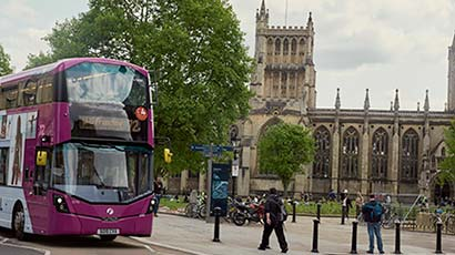 A bus going to Frenchay Campus for an Open Day
