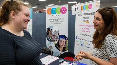 A student chats to an employer at the employers fair