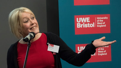 A UWE Bristol presenter addressing the audience