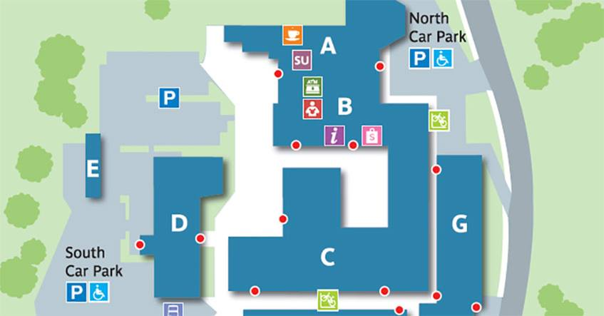 Close up of the Bower Ashton campus map.