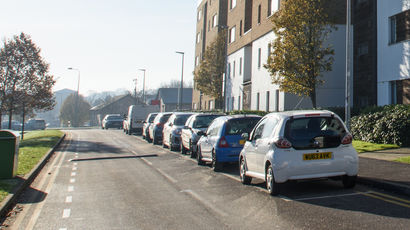 Cars parked on Frenchay campus