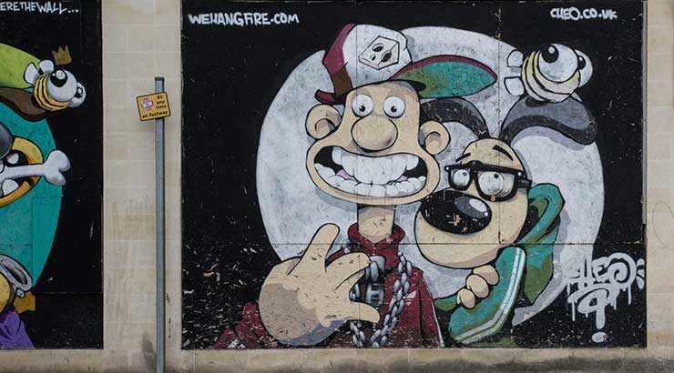 Graffiti in Bristol of Wallace and Gromit