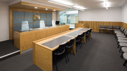 Mock court room at Bristol Law School