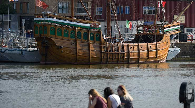 The Matthew boat moored in Bristol