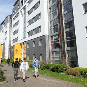 Students walking in the Student Village on Frenchay Campus