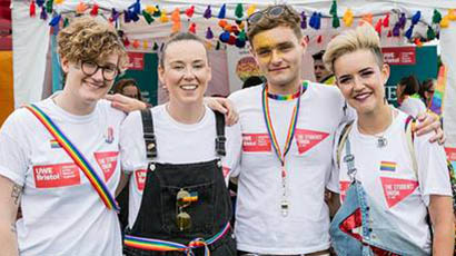 Group of UWE Bristol students posing at Pride