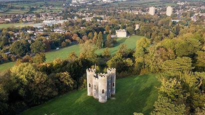 Blaise Castle park in Bristol photographed from the air.