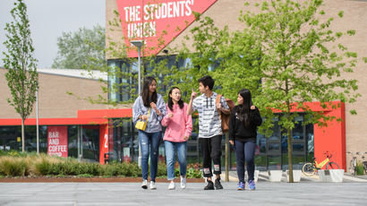Students outside the student union