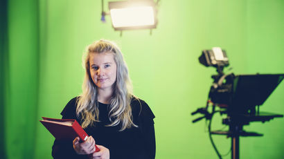 Student  journalist in video studio