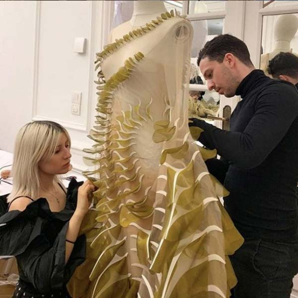 Michalis Pantelides is currently doing his placement year at Iris Van Herpen in Amsterdam where he is their Atelier Intern - @uwe_fashiontextiles